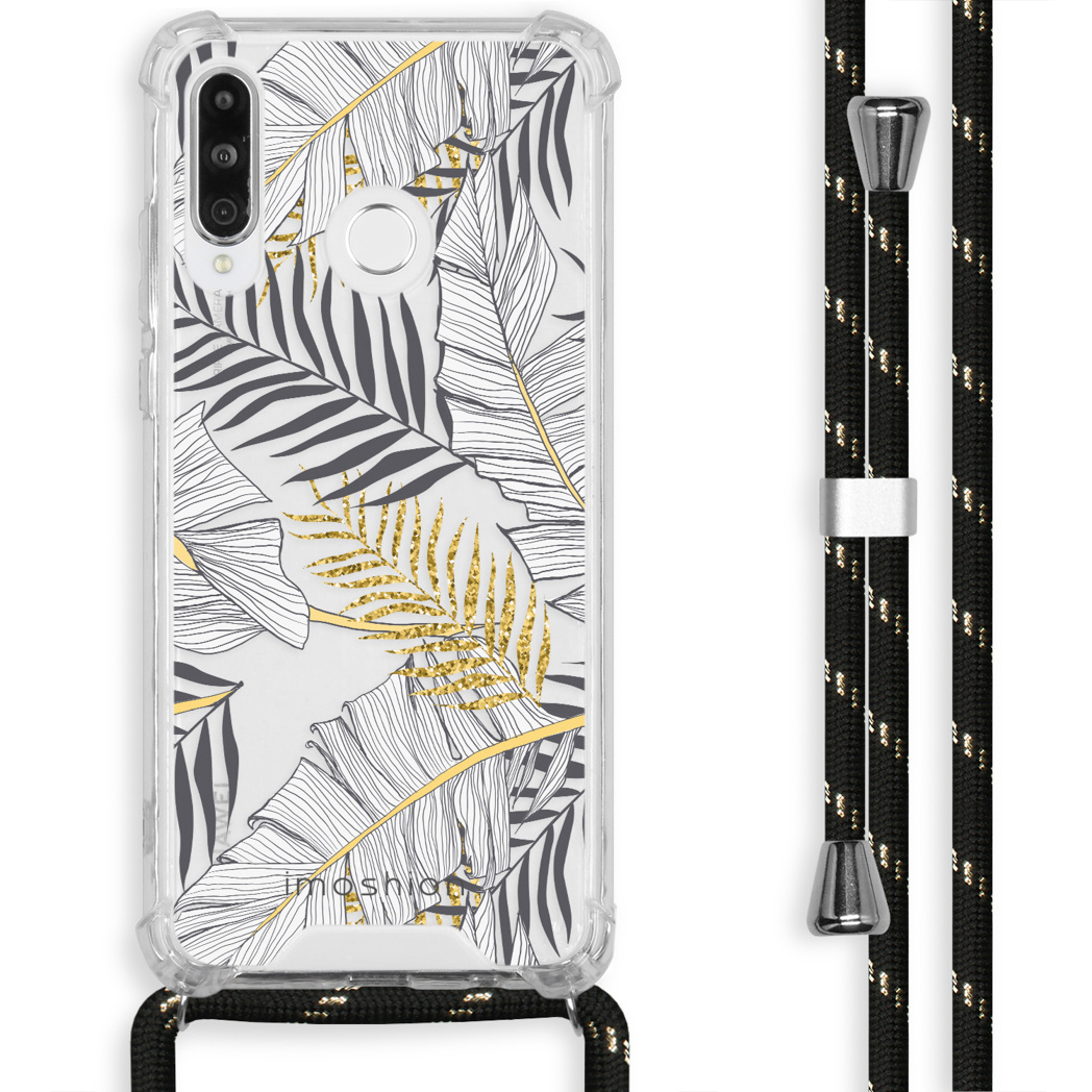 iMoshion Coque Design avec cordon Huawei P30 Lite - Feuilles - Noir