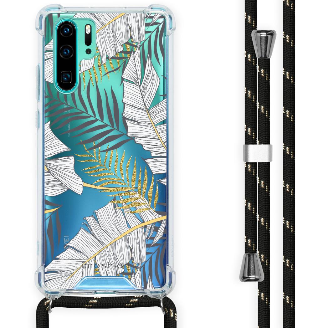 iMoshion Coque Design avec cordon Huawei P30 Pro - Feuilles - Noir