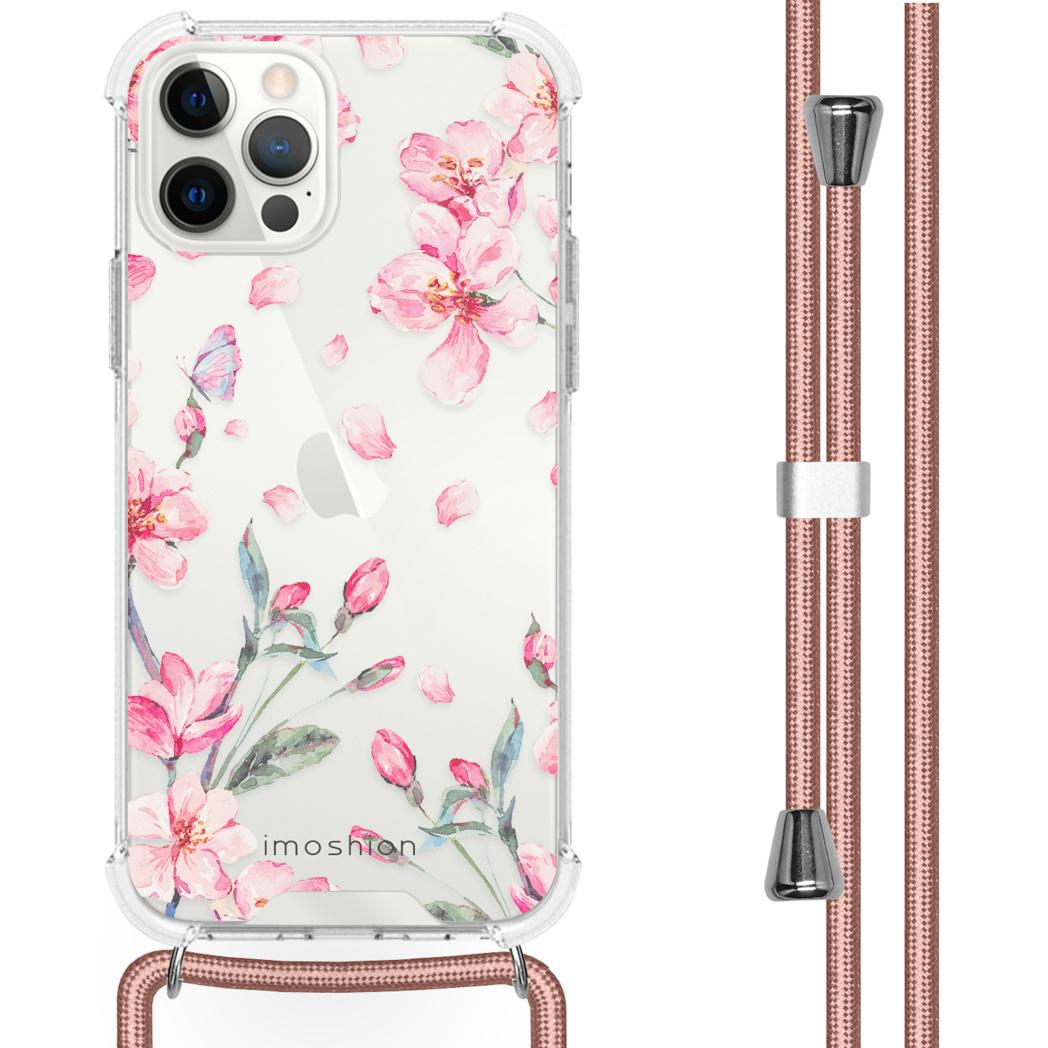 iMoshion Coque Design avec cordon iPhone 12 (Pro) - Fleur - Rose