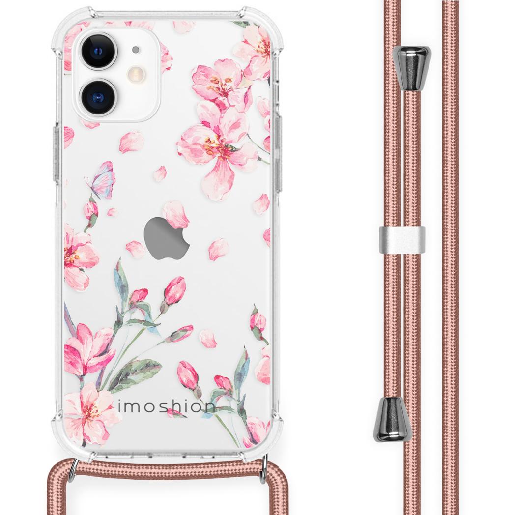iMoshion Coque Design avec cordon iPhone 12 Mini - Fleur - Rose