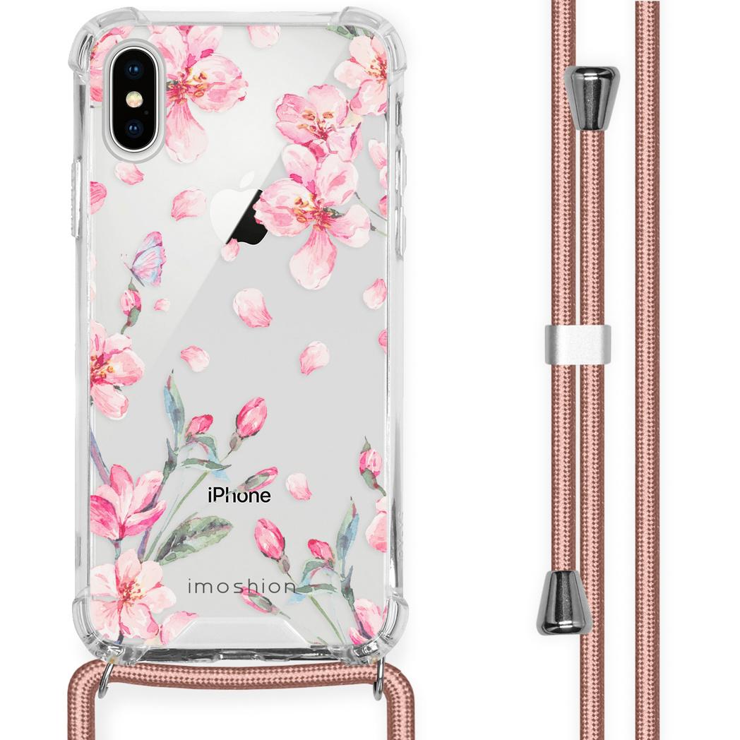 iMoshion Coque Design avec cordon iPhone X / Xs - Fleur - Rose