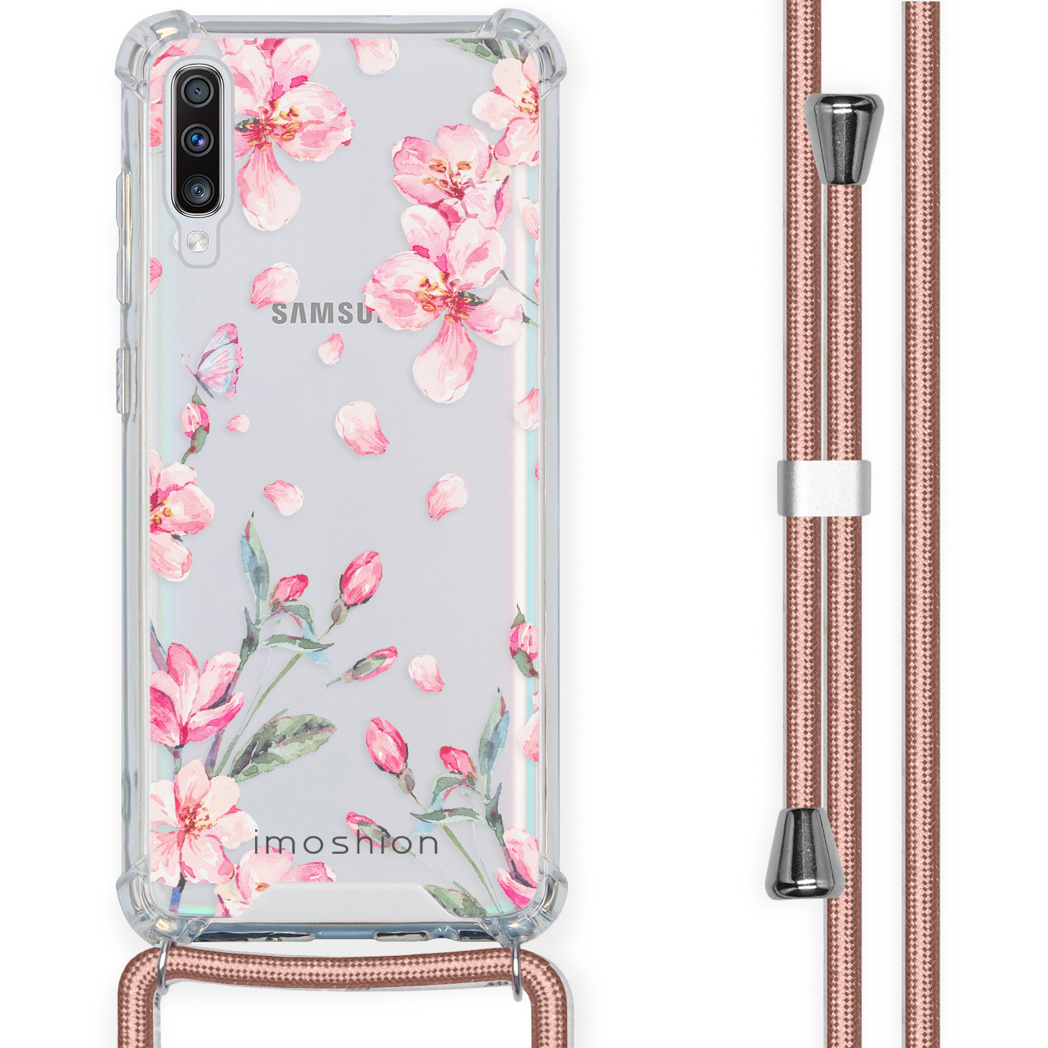 iMoshion Coque Design avec cordon Samsung Galaxy A70 - Fleur - Rose