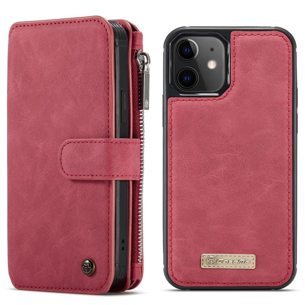 CaseMe Étui luxe 2-en-1 à rabat iPhone 12 Mini - Rouge
