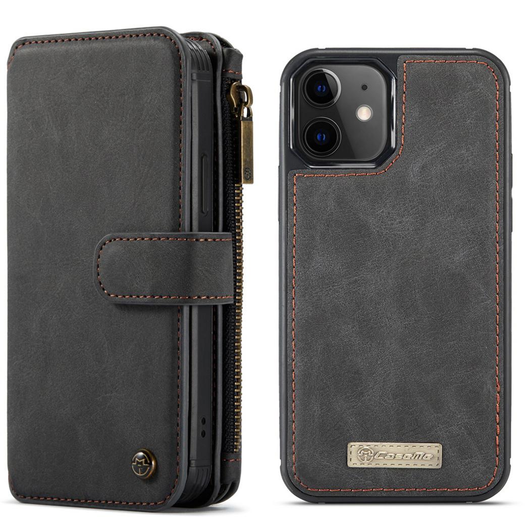 CaseMe Étui luxe 2-en-1 à rabat pour iPhone 12 Mini - Noir