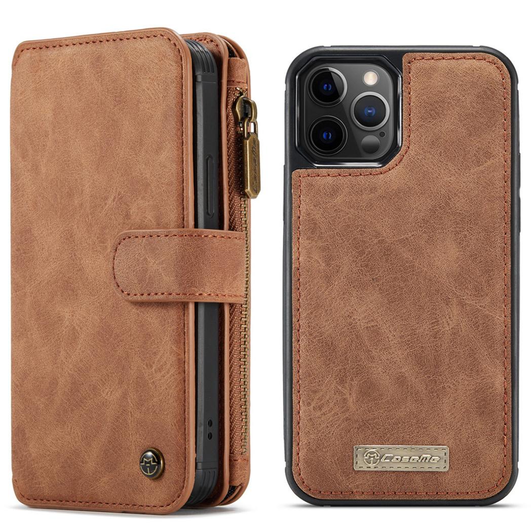 CaseMe Étui luxe 2-en-1 à rabat iPhone 12 (Pro) - Brun