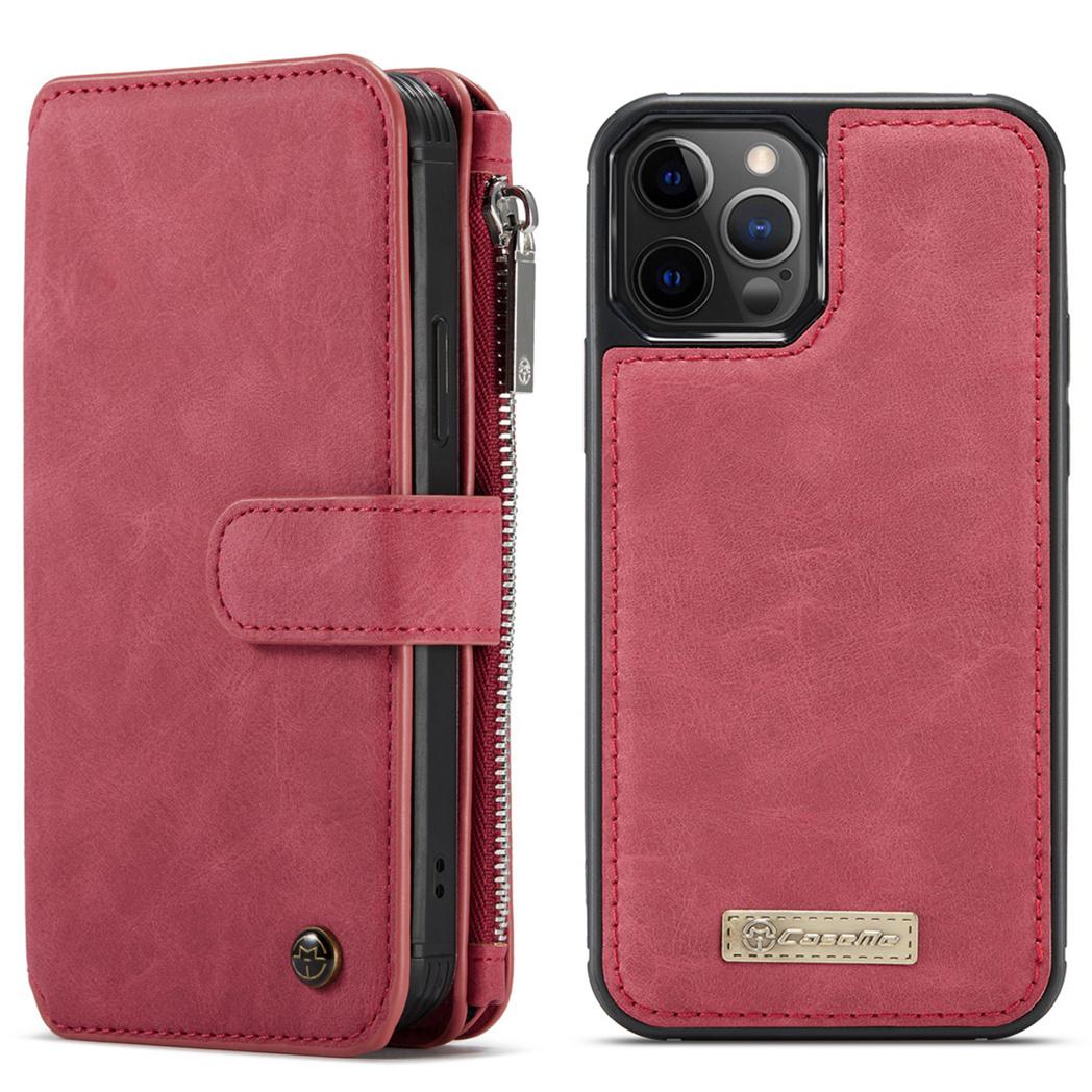 CaseMe Étui luxe 2-en-1 à rabat iPhone 12 (Pro) - Rouge