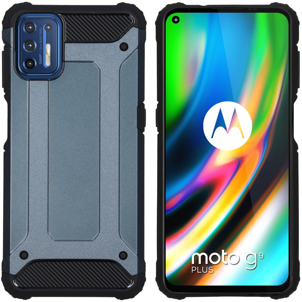 iMoshion Coque Rugged Xtreme Motorola Moto G9 Plus - Bleu foncé