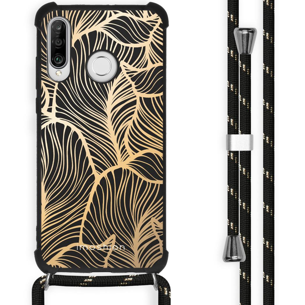iMoshion Coque Design avec cordon Huawei P30 Lite - Feuilles - Dorée