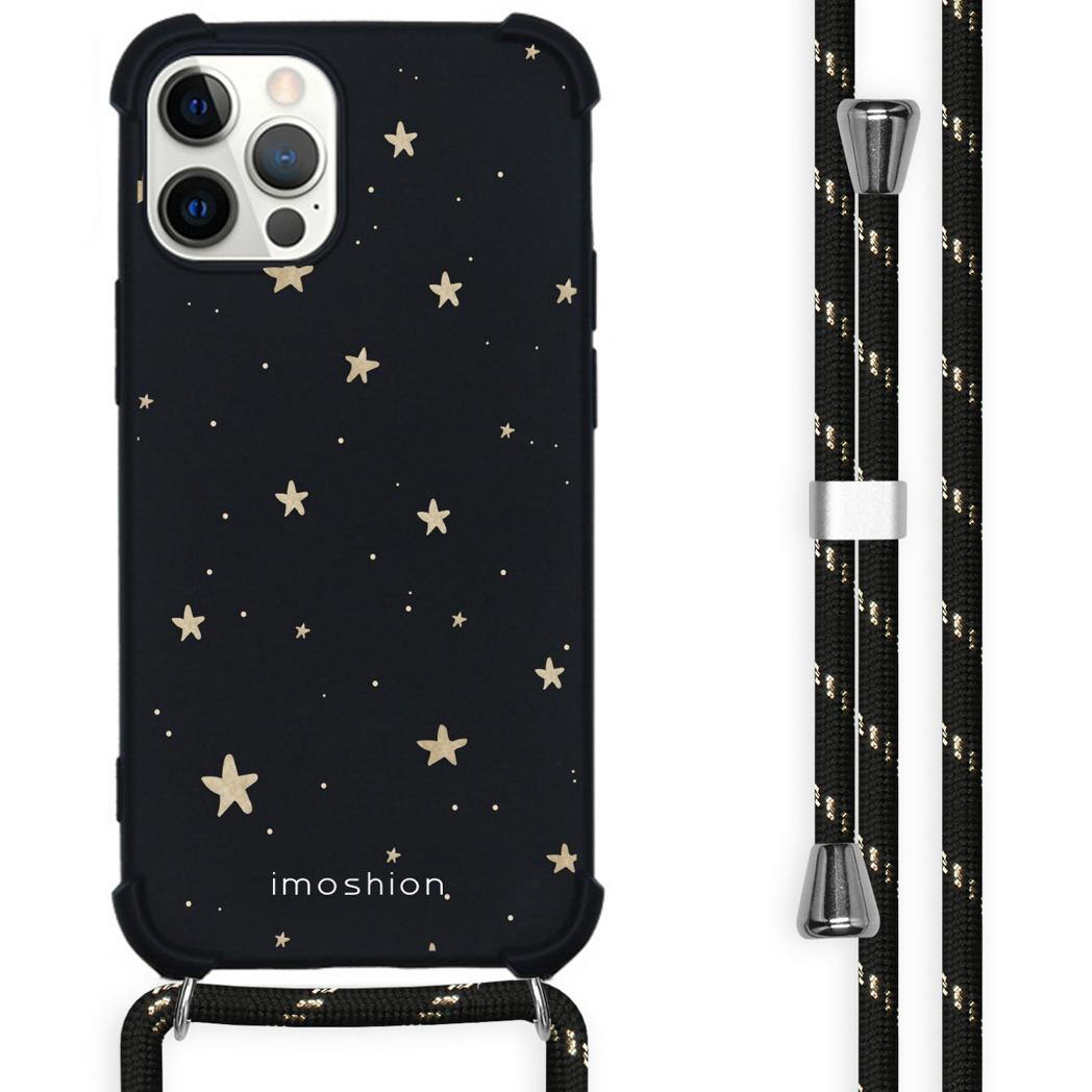 iMoshion Coque Design avec cordon iPhone 12 (Pro) - Etoiles - Noir
