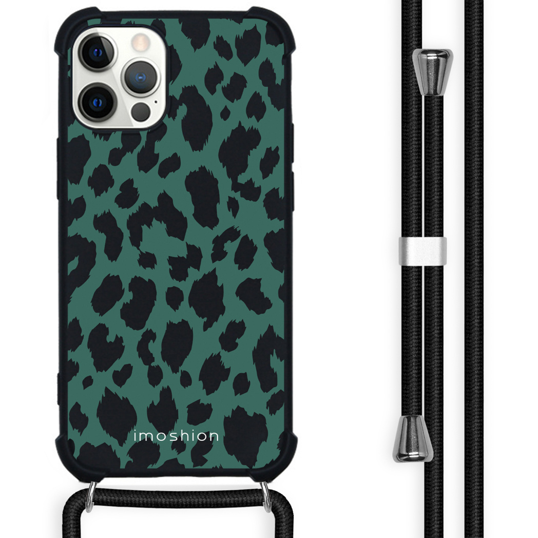 iMoshion Coque Design avec cordon iPhone 12 (Pro) - Léopard - Vert