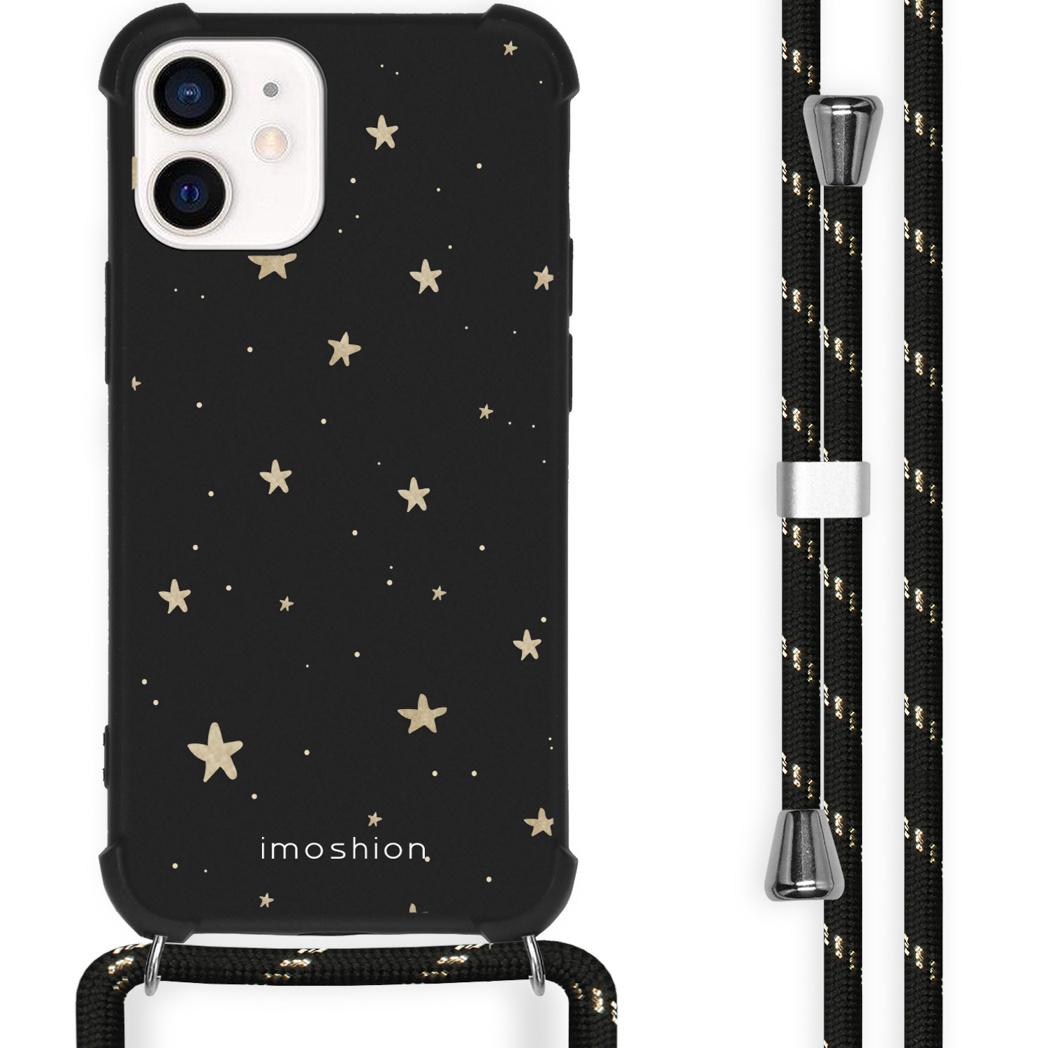 iMoshion Coque Design avec cordon iPhone 12 Mini - Etoiles - Noir