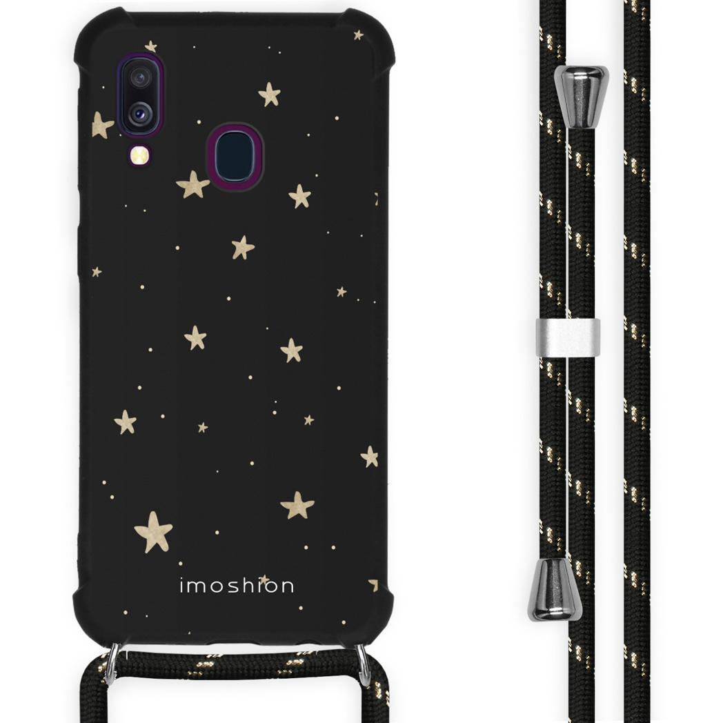 iMoshion Coque Design avec cordon Samsung Galaxy A40 - Etoiles - Noir