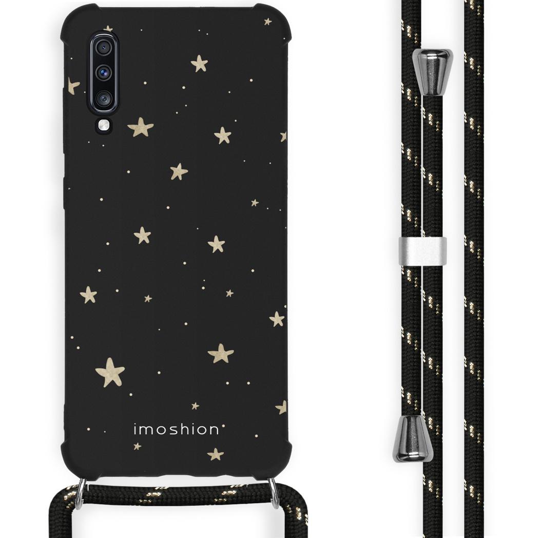 iMoshion Coque Design avec cordon Samsung Galaxy A70 - Etoiles - Noir