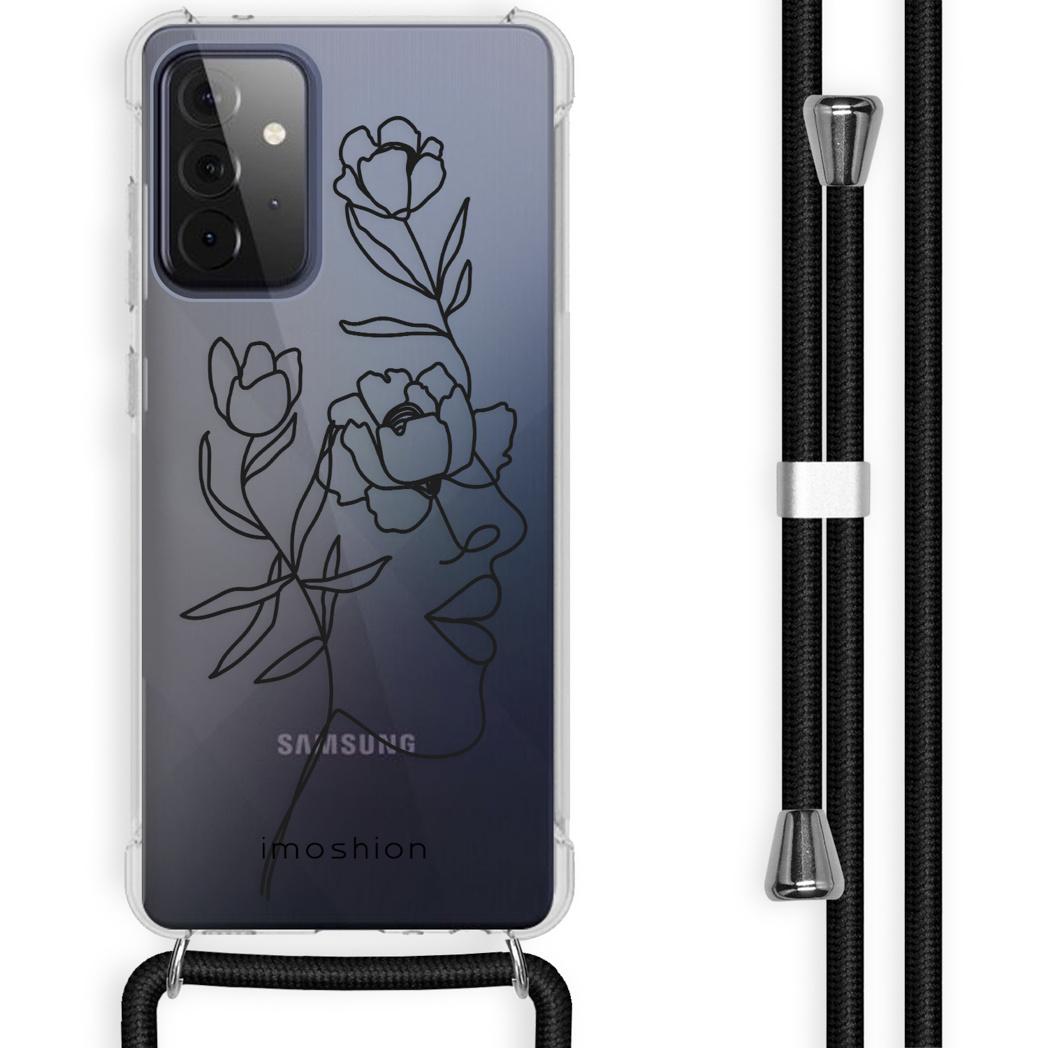 iMoshion Coque Design avec cordon Galaxy A72 - Visage abstrait fleur