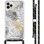 iMoshion Coque Design avec cordon iPhone 11 Pro Max - Feuilles - Noir