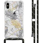 iMoshion Coque Design avec cordon iPhone X / Xs - Feuilles - Noir