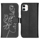 iMoshion Coque silicone design iPhone 11 - Woman Flower Black