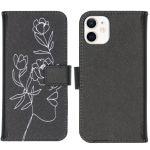 iMoshion Coque silicone design iPhone 12 Mini - Woman Flower Black