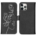 iMoshion Coque silicone design iPhone 12 (Pro) - Woman Flower Black