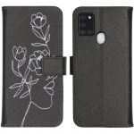 iMoshion Coque silicone design Galaxy A21s - Woman Flower Black