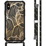 iMoshion Coque Design avec cordon iPhone X / Xs - Feuilles - Dorée