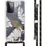 iMoshion Coque Design avec cordon Galaxy A72 - Feuilles - Noir /Dorée