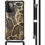 iMoshion Coque Design avec cordon Galaxy A72 - Feuilles - Dorée /Noir