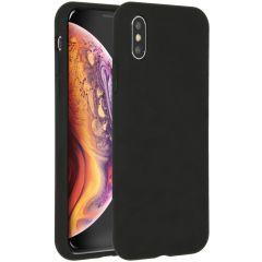 Accezz Coque Liquid Silicone iPhone Xs / X - Noir