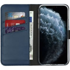 Selencia Étui de téléphone en cuir véritable iPhone 11 Pro - Bleu