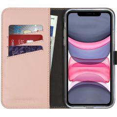 Selencia Étui de téléphone en cuir véritable iPhone 11 - Rose