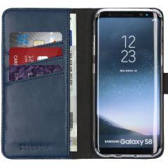 Selencia Étui de téléphone en cuir véritable Samsung Galaxy S8 - Bleu