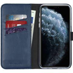 Selencia Étui de téléphone en cuir véritable iPhone 11 Pro Max - Bleu