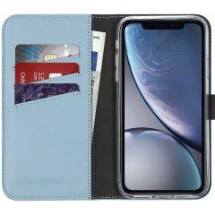 Selencia Étui de téléphone en cuir véritable iPhone Xr - Bleu clair