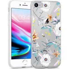 iMoshion Coque Design iPhone SE (2020) / 8 / 7 / 6s - Fleur - Blanc