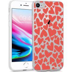 iMoshion Coque Design iPhone SE (2020) / 8 / 7 / 6s - Cœurs - Rouge