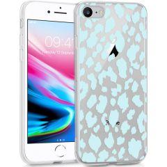 iMoshion Coque Design iPhone SE (2020) / 8 / 7 / 6s - Léopard - Bleu