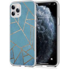 iMoshion Coque Design iPhone 11 Pro - Cuive graphique - Bleu / Dorée