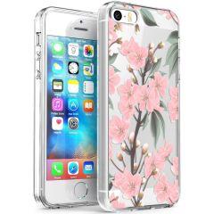 iMoshion Coque Design iPhone 5 / 5s / SE - Fleur - Rose / Vert