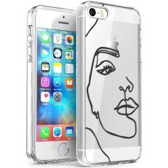iMoshion Coque Design iPhone 5 / 5s / SE - Visage abstrait - Noir