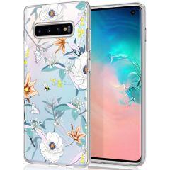 iMoshion Coque Design Samsung Galaxy S10 - Fleur - Blanc