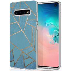 iMoshion Coque Design Galaxy S10 - Cuive graphique - Bleu / Dorée