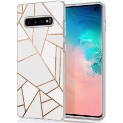 iMoshion Coque Design Galaxy S10 - Cuive graphique - Blanc / Dorée
