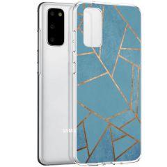 iMoshion Coque Design Galaxy S20 - Cuive graphique - Bleu / Dorée