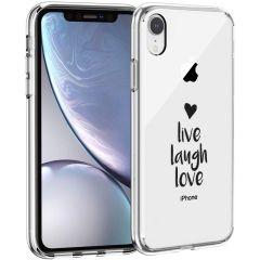 iMoshion Coque Design iPhone Xr - Live Laugh Love - Noir