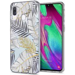 iMoshion Coque Design Samsung Galaxy A20e - Feuilles - Noir / Dorée