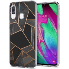 iMoshion Coque Design Galaxy A20e - Cuive graphique - Noir / Dorée
