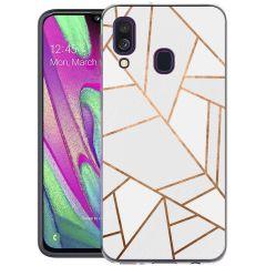 iMoshion Coque Design Galaxy A40 - Cuive graphique - Blanc / Dorée