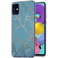 iMoshion Coque Design Galaxy A51 - Cuive graphique - Bleu / Dorée