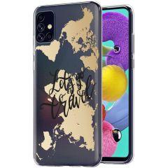 iMoshion Coque Design Galaxy A51 - Let's Go Travel - Noir / Dorée