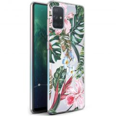 iMoshion Coque Design Samsung Galaxy A71 - Jungle - Vert / Rose